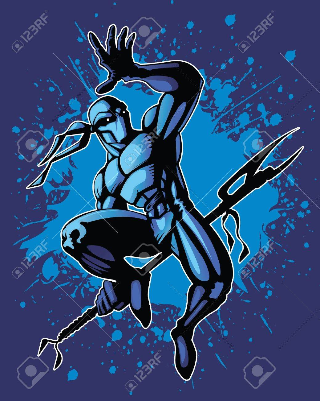 Martial artist in a dynamic fighting position. Stock Vector - 10066937