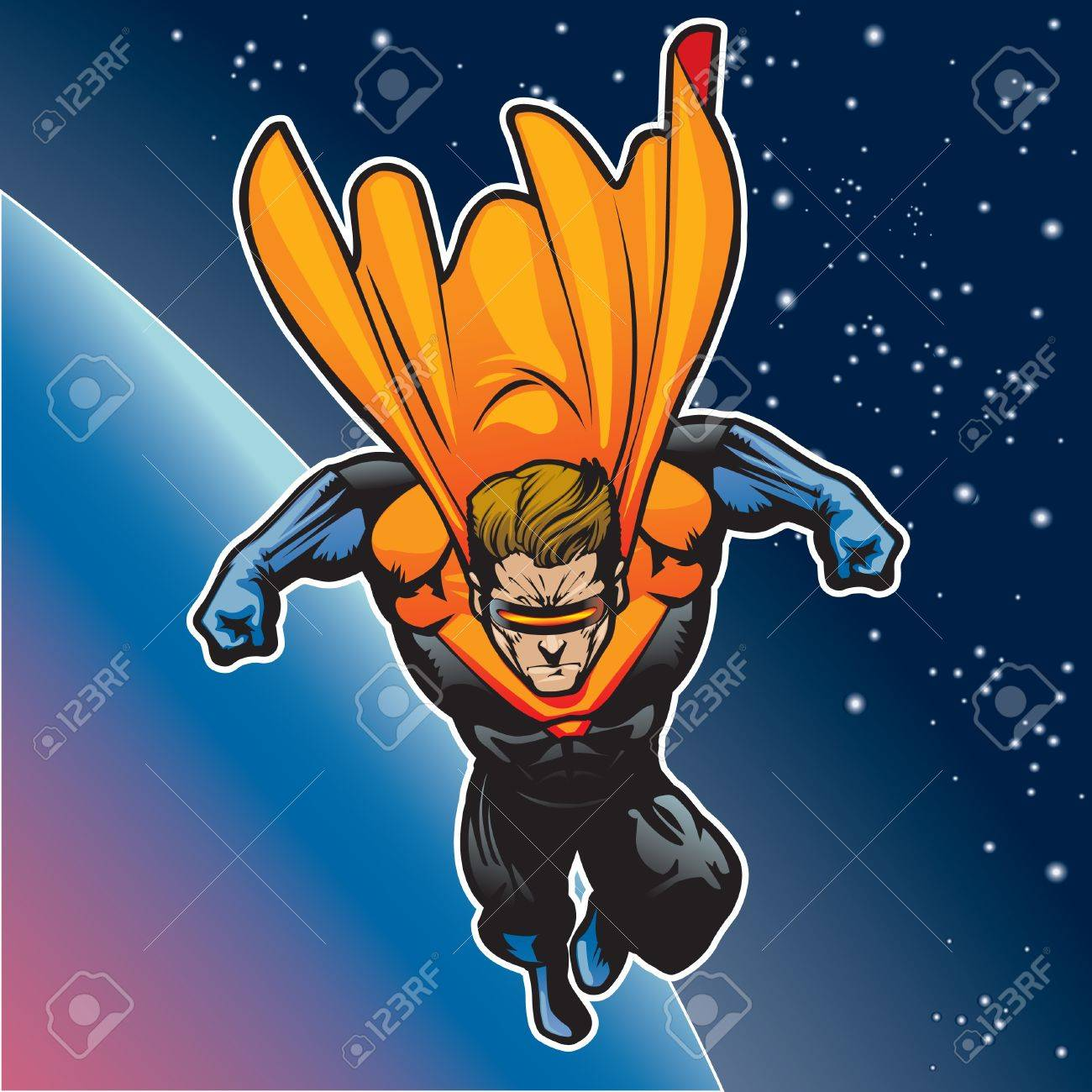 Super hero with cape flying above a planet Stock Vector - 14312694