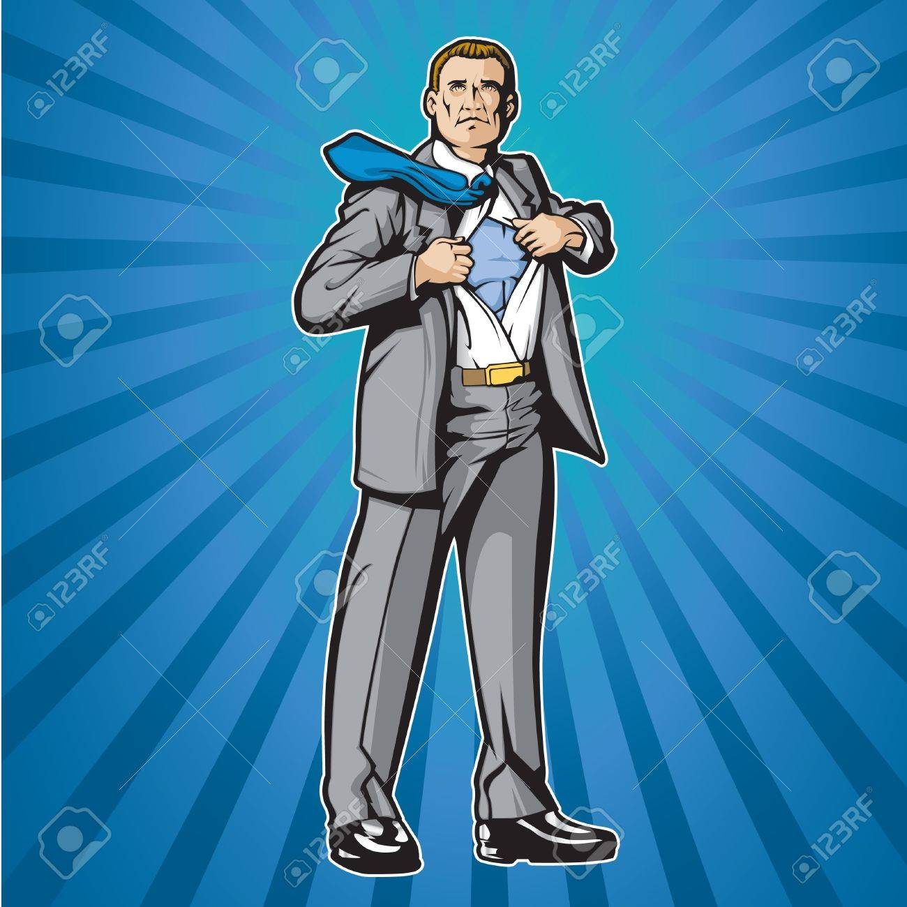 Business man opening shirt to show super hero suit Stock Vector - 14312677