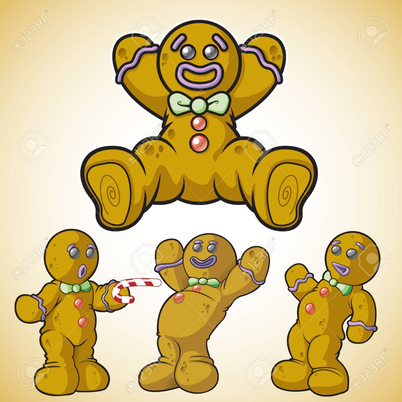 Gingerbread man in different poses Stock Vector - 19385912
