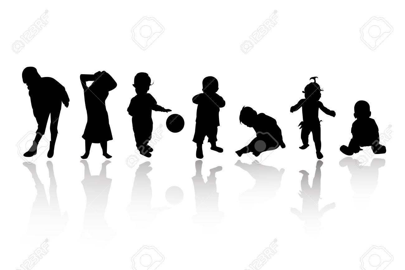 silhouettes - children Stock Vector - 8054079