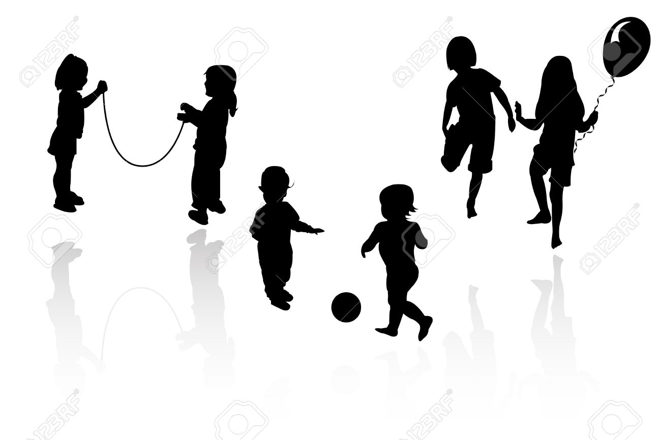silhouette girls and boys playing Stock Vector - 8054099