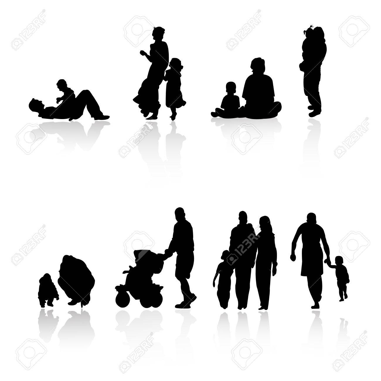 family silhouettes Stock Vector - 8054084