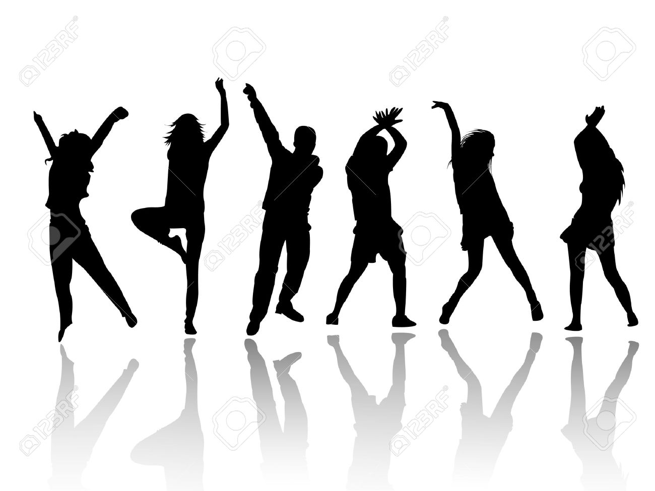 Party People Silhouette Vector Free Silhouette People Party Dance