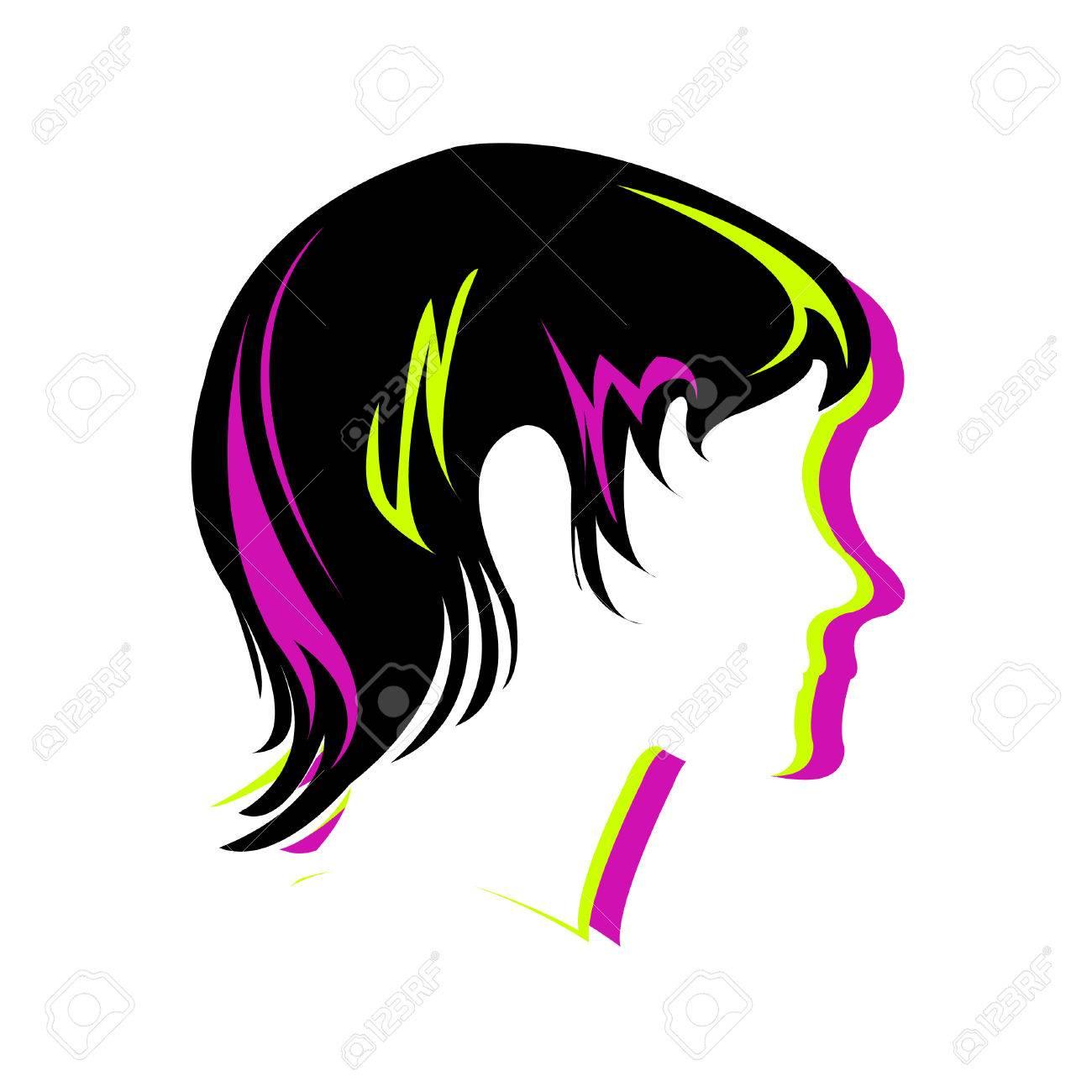 Silhouette hair style , face Stock Vector - 8054066