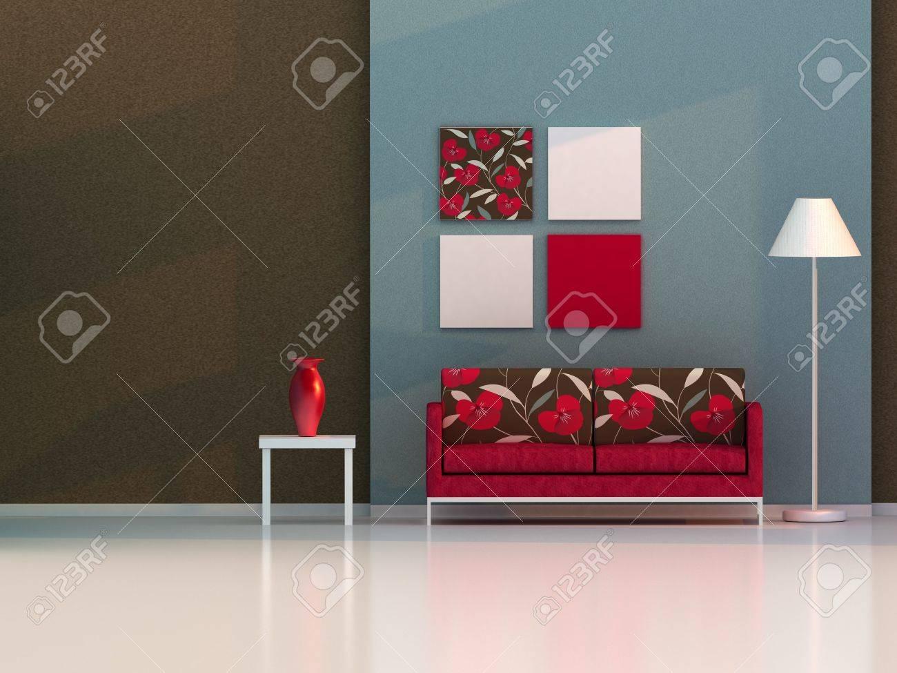 3d render living room, modern room Stock Photo - 8054159