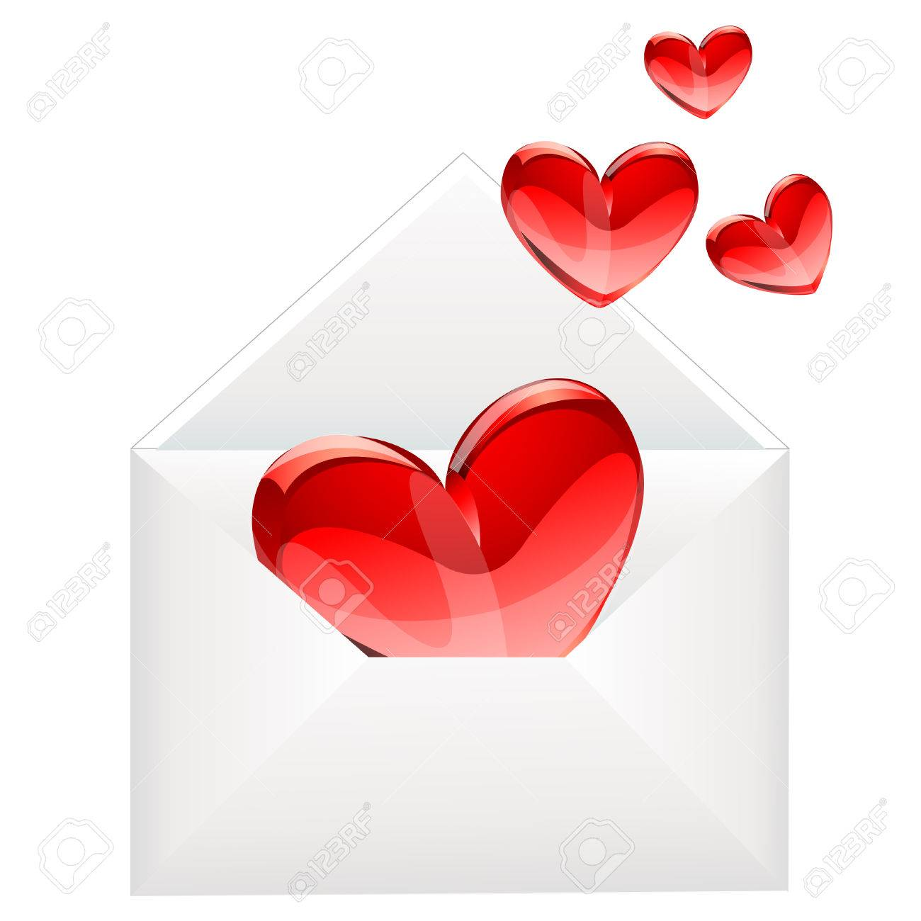 love letter and red hearts Stock Vector - 8144123