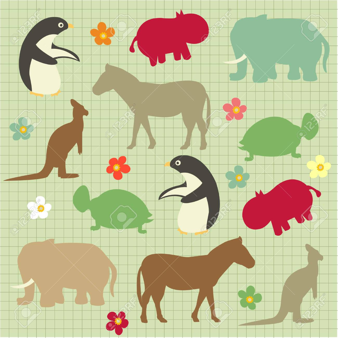 Seamless pattern for kids, abstract natural animal pattern Stock Vector - 8580564