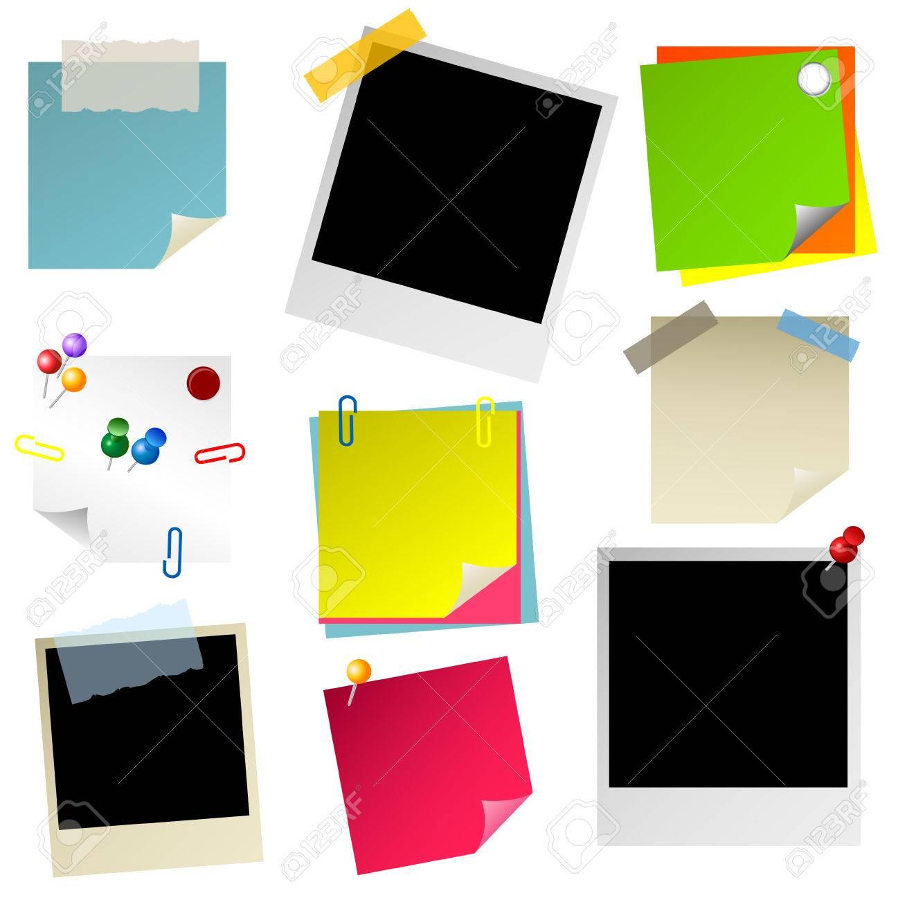 note, papier, sticker, postit, photo set Stock Vector - 8763921