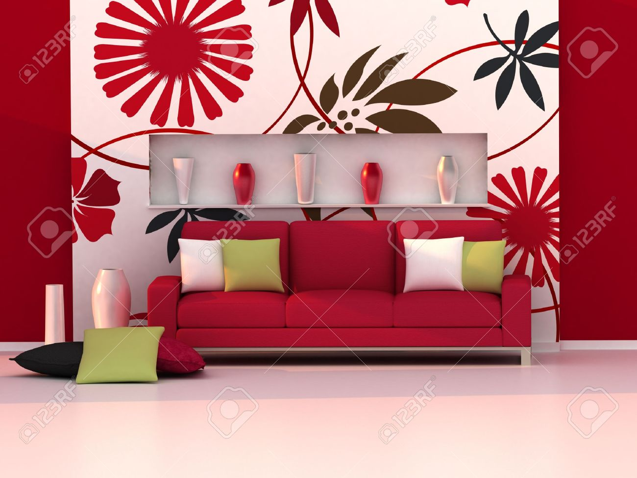 Interior Of The Modern Room, Floral Wall And Red Sofa Stock Photo   8647592