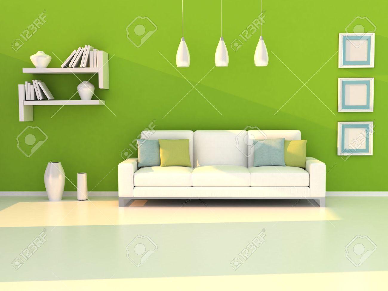 Interieur van de moderne kamer, groene muur en wit bank royalty ...