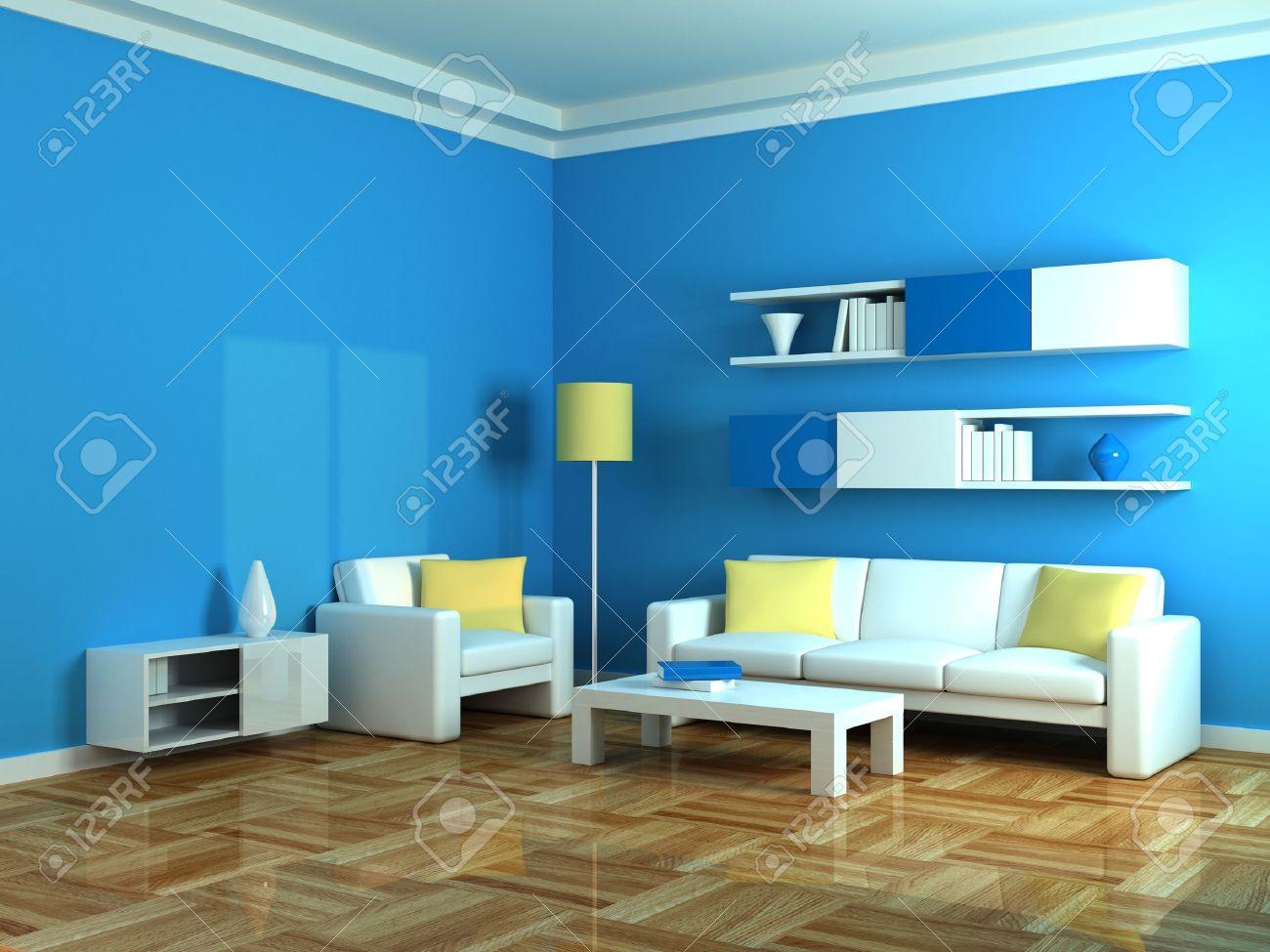 Interieur van de moderne kamer, blauwe muur en wit bank royalty ...