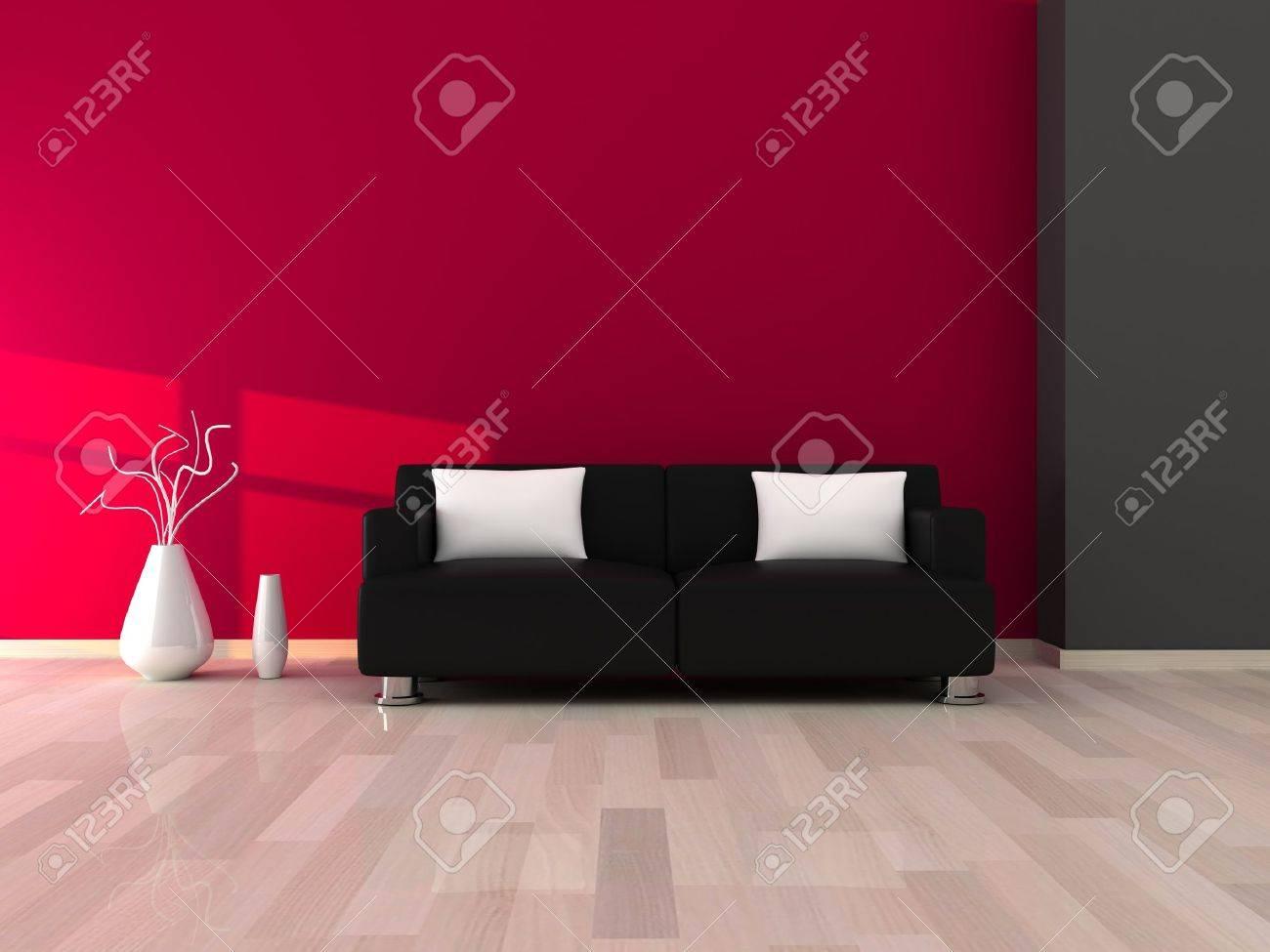 Intérieur de la chambre moderne, mur gris et rose et noir canapé ...
