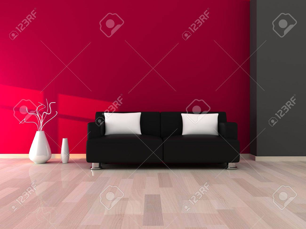 interior of the modern room grey and pink wall and black sofa stock rh 123rf com black sofa pink cushions joke