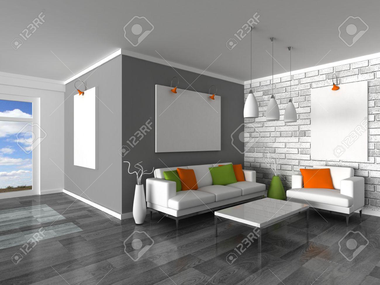 Intérieur Des Canapés De Mur Noir Et Blanc De Chambre Moderne, Gris ...