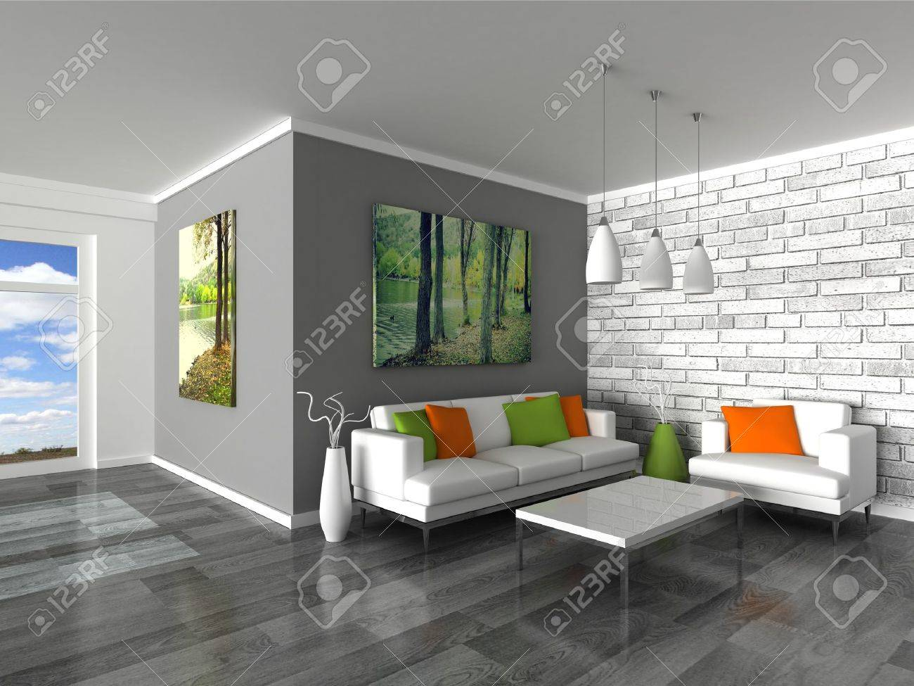 Captivant Banque Du0027images   Intérieur Des Canapés De Mur Noir Et Blanc De Chambre  Moderne, Gris