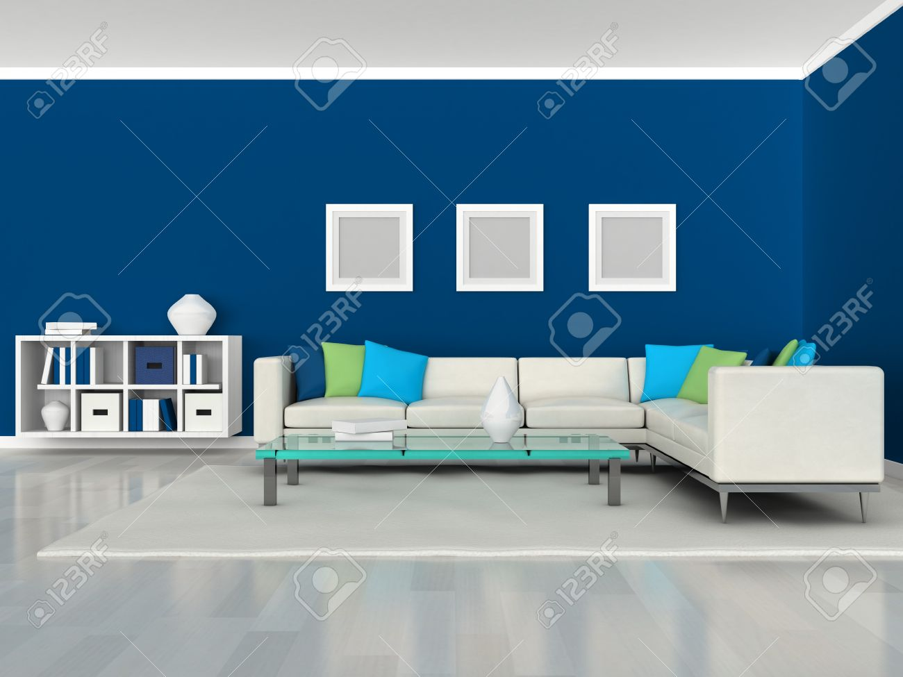 Banque Du0027images   Intérieur Du Canapé Mur Noir Et Blanc Chambre Moderne,  Bleu