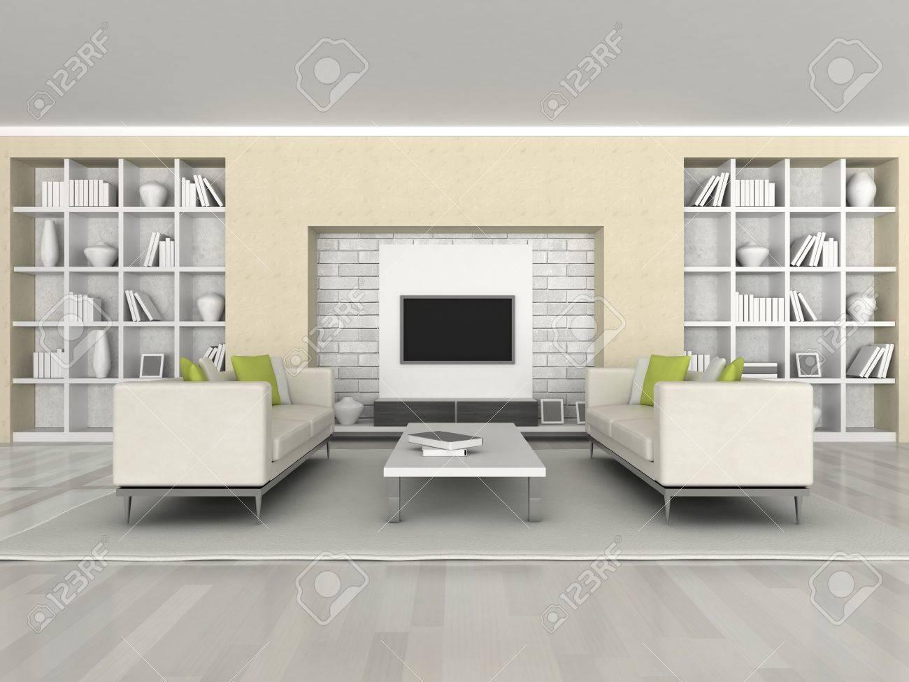 Intérieur de la sofa de mur noir et blanc de chambre moderne, brun ...