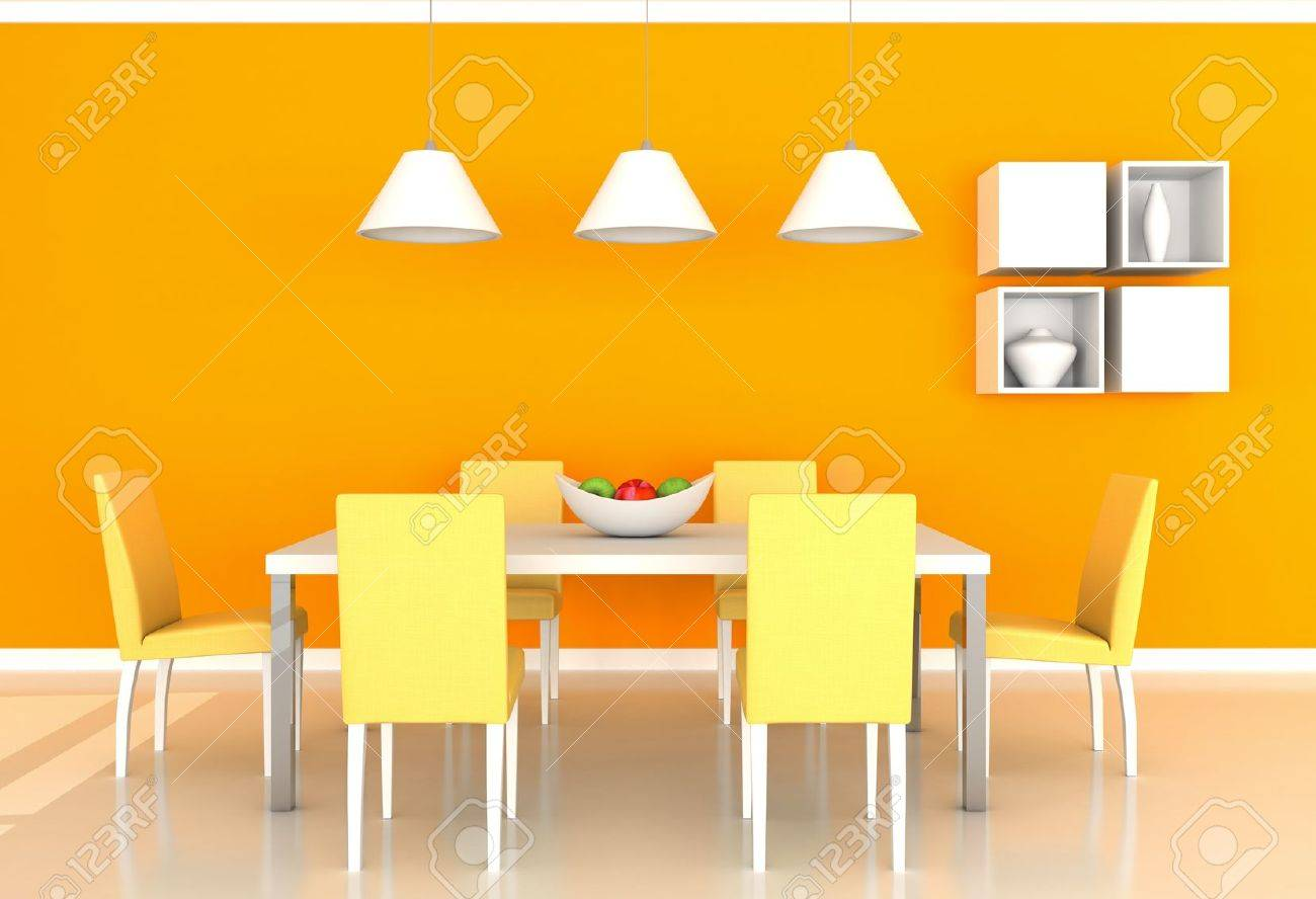 orange modern dining room stock photo picture and royalty free