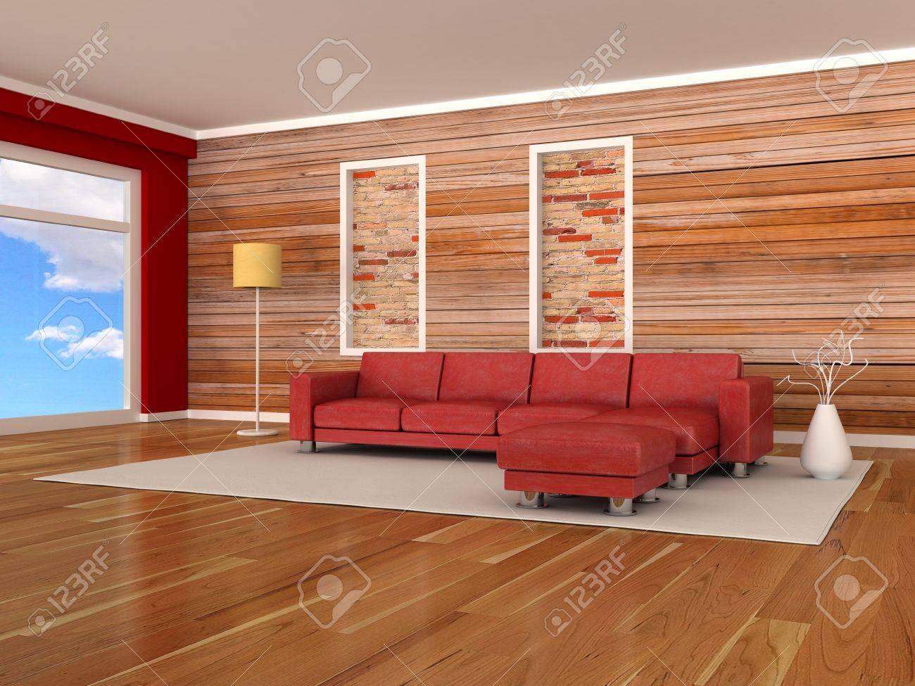 Intérieur De La Chambre Moderne, Le Mur De Bois, Le Canapé Rouge ...