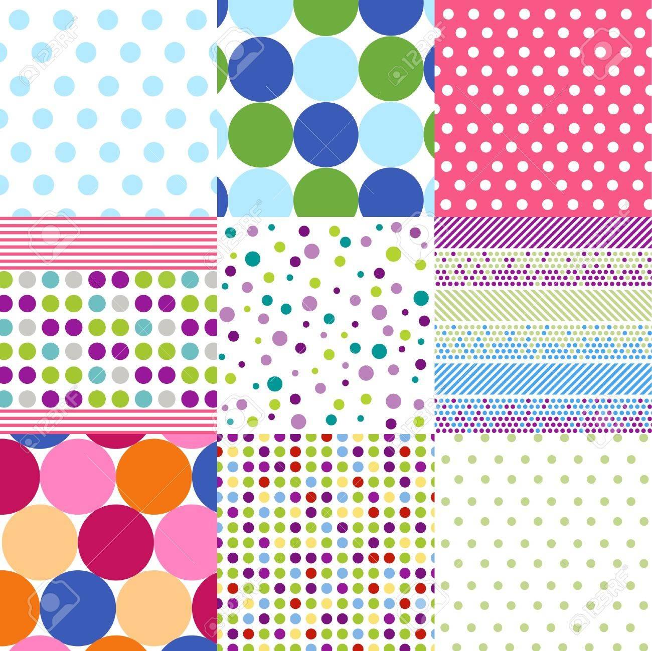 seamless patterns, polka dot set Stock Vector - 9871179