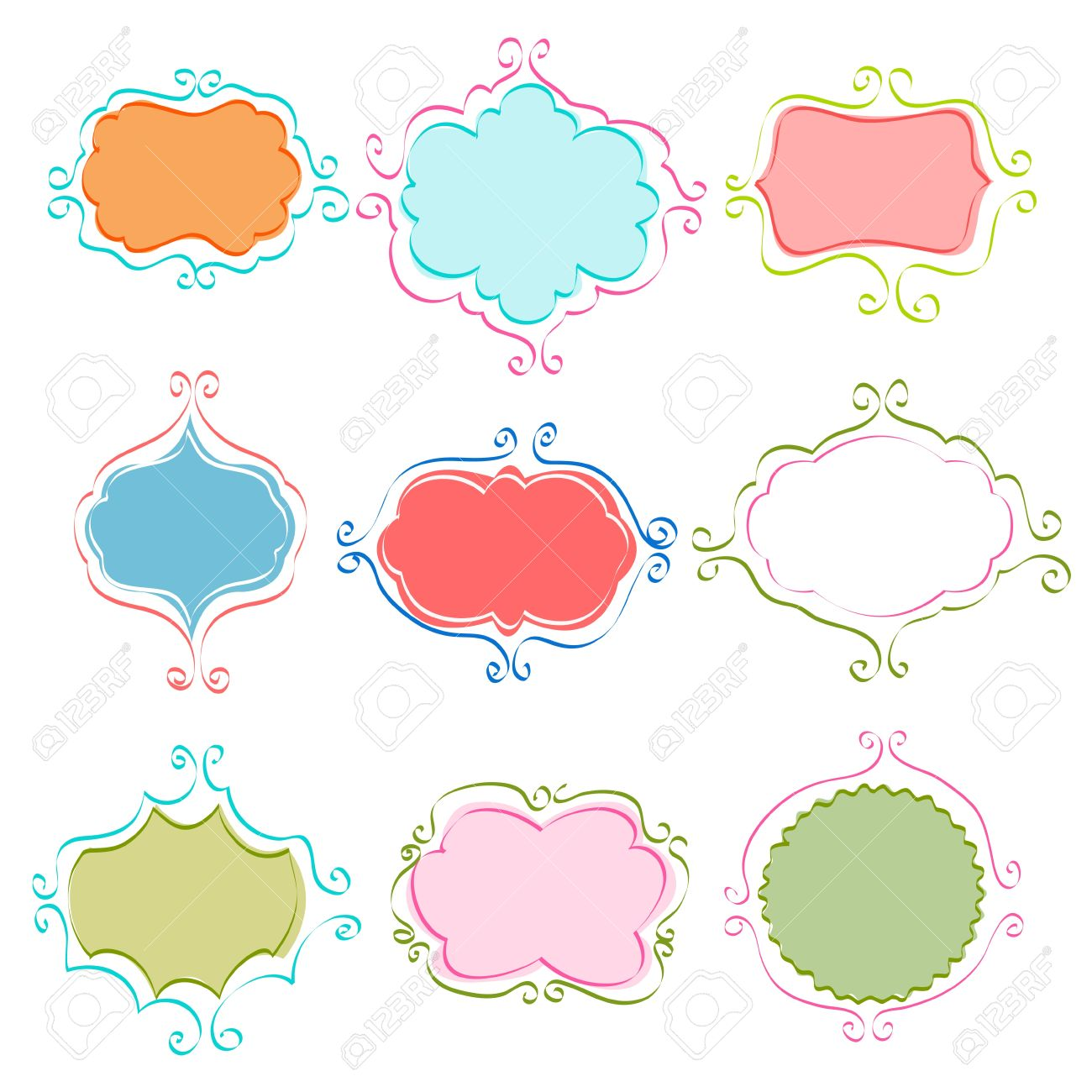 set of vintage frames royalty free cliparts vectors and stock