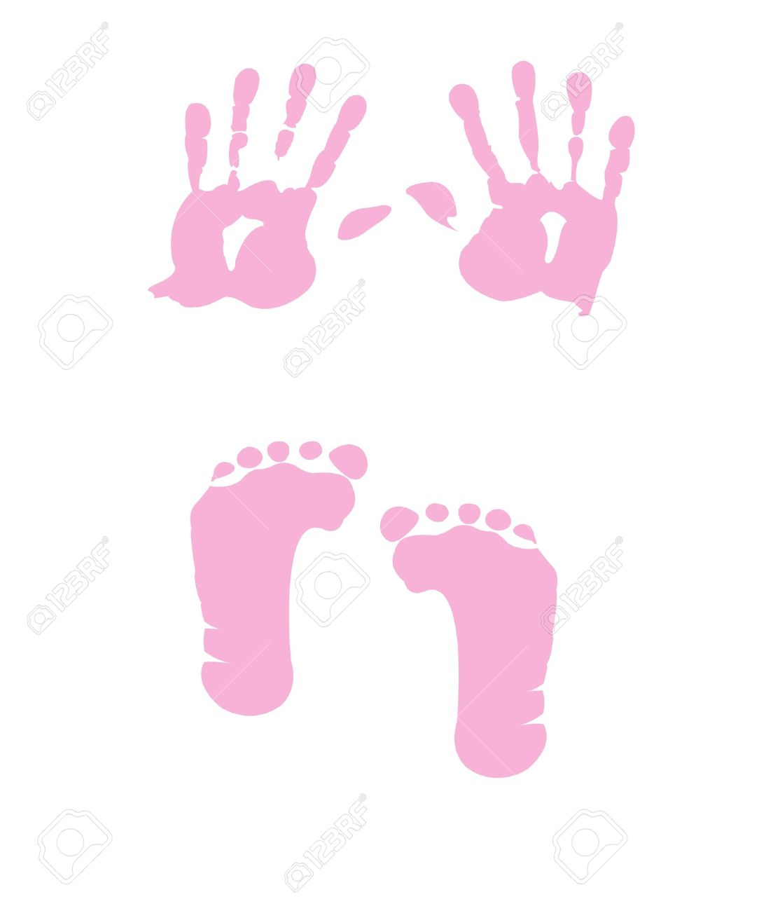 baby girl handprint footprint royalty free cliparts vectors and