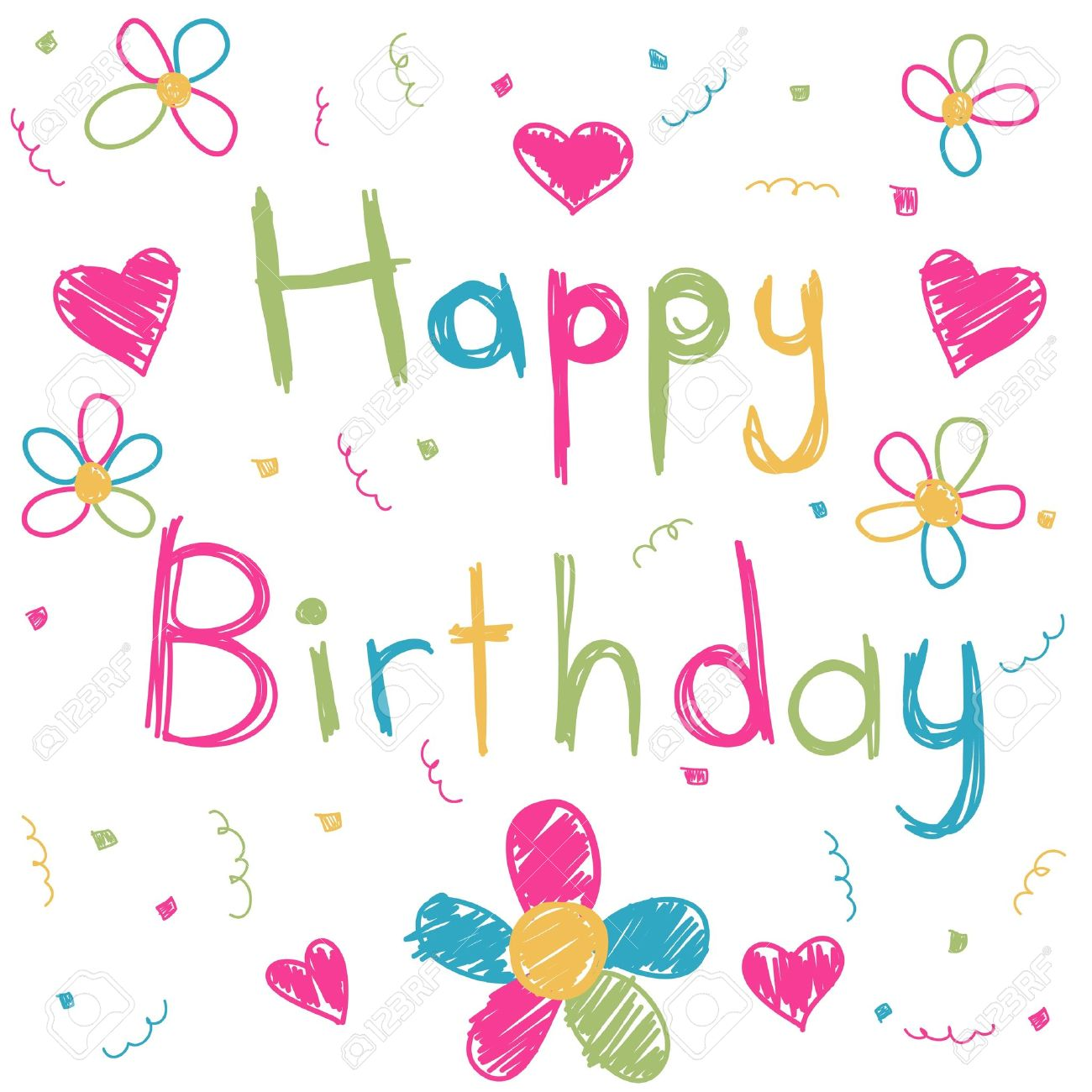 Happy Birthday Card Royalty Free Cliparts Vectors And – Birthday Cards for Girl