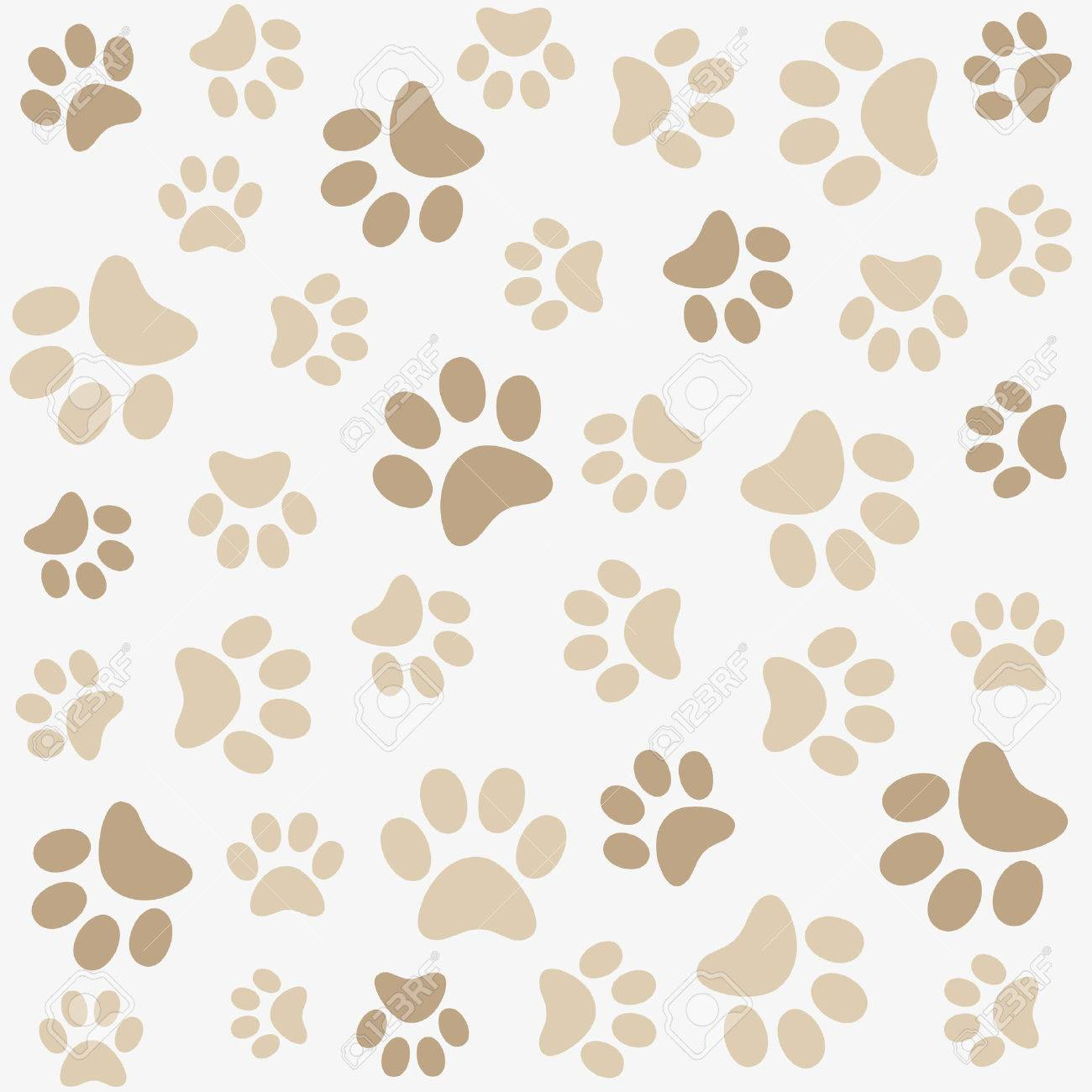 Seamless Animal Pattern Of Paw Footprint Stock Vector