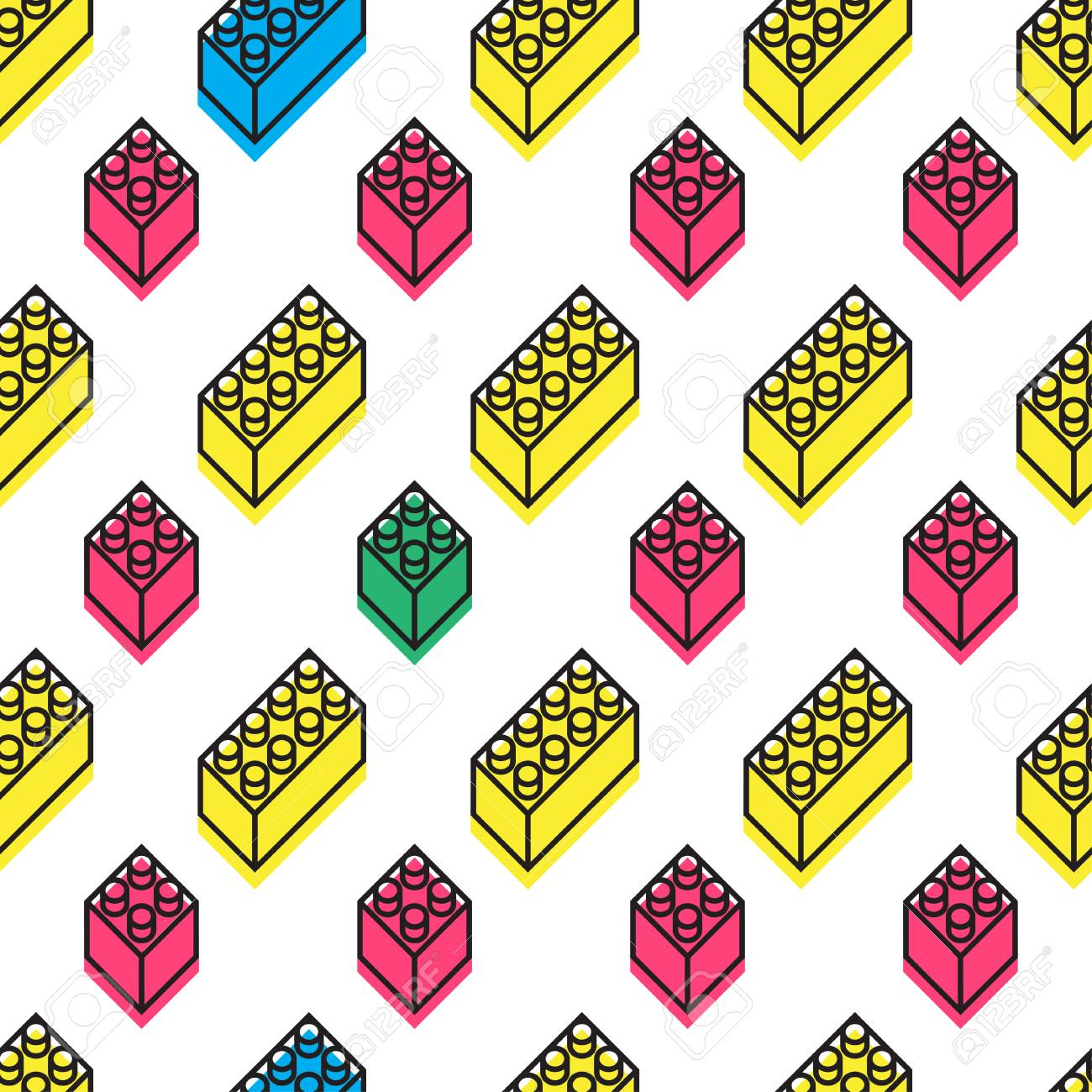 Seamless pattern with simple isometric forms  Memphis design
