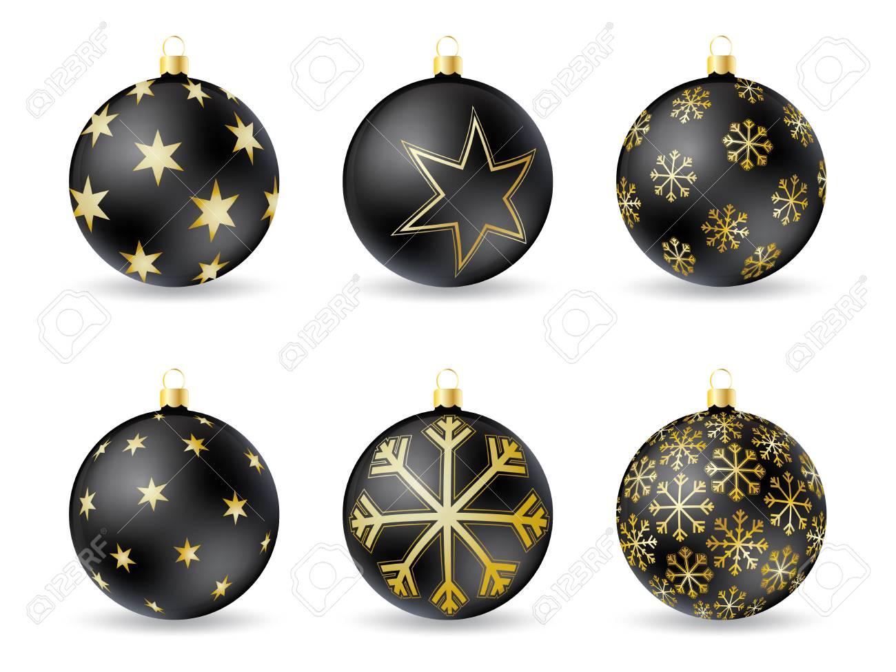 Black Christmas Balls.Set Of Black Christmas Balls With Decorative Winter Ornament