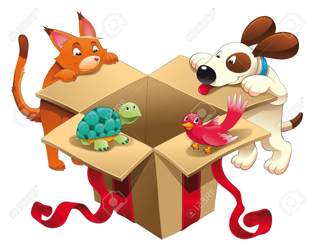 Gift and pets, vector and cartoon scene Stock Vector - 5427126