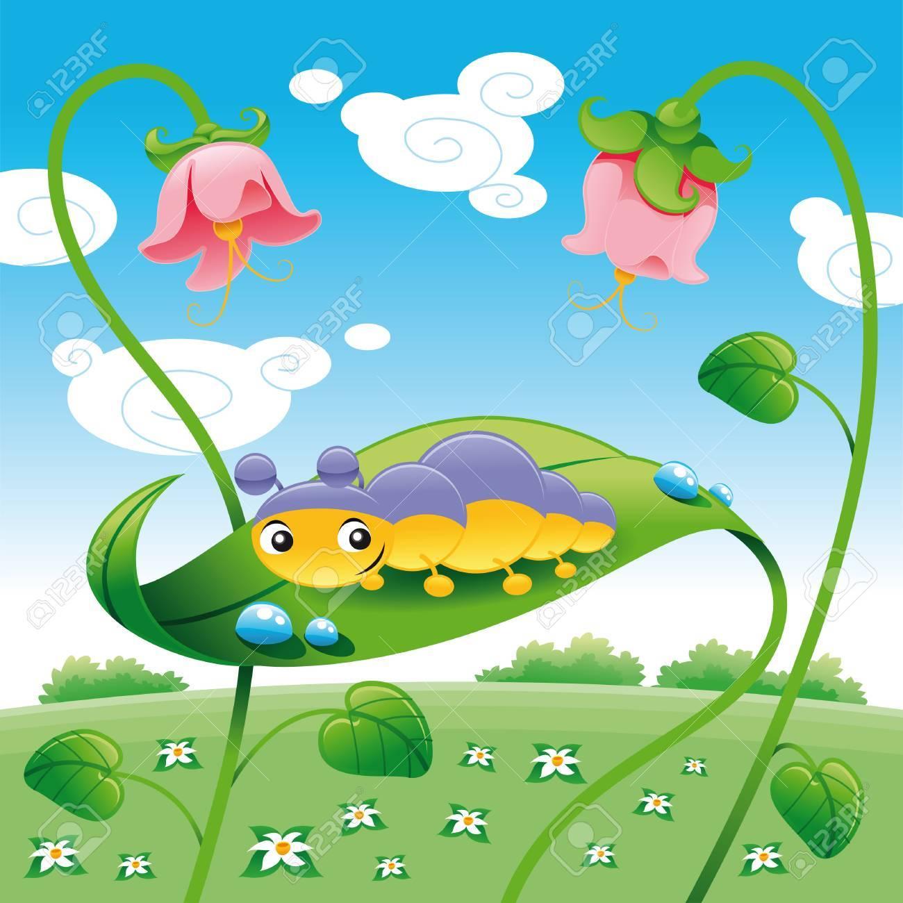Grub on the leaf, vector and cartoon character Stock Vector - 5450512