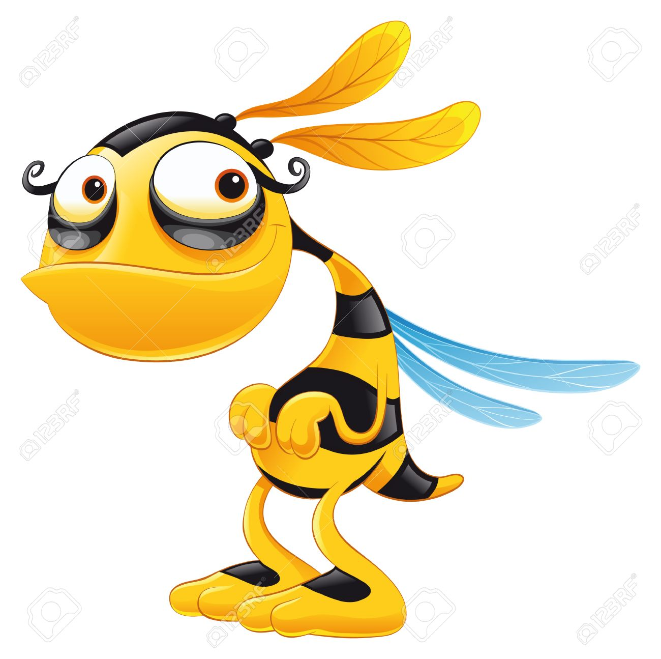 Funny Bee, cartoon and vector character Stock Vector - 5450536