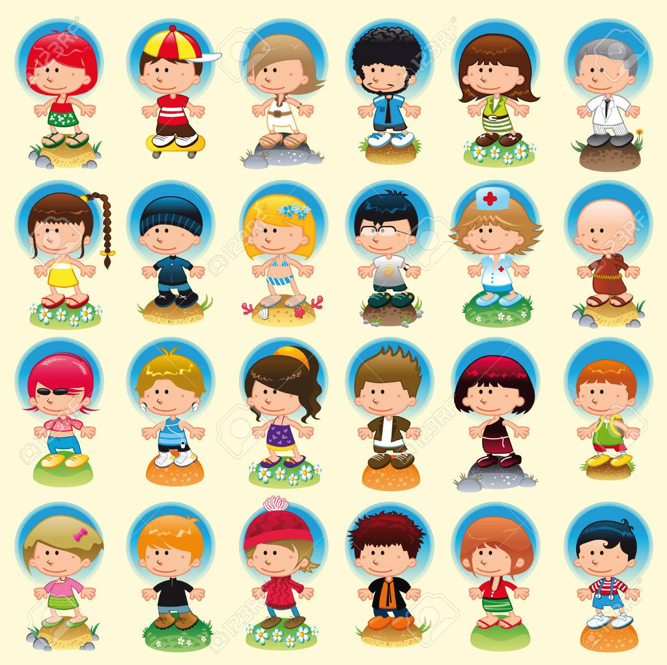 People with background, cartoon and vector characters Stock Vector - 5516436