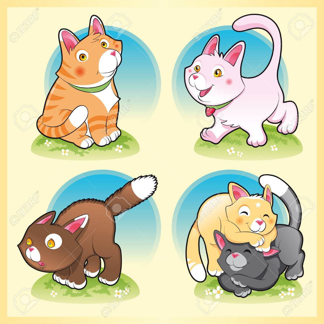 Family of cats, cartoon and vector illustration Stock Vector - 5516453
