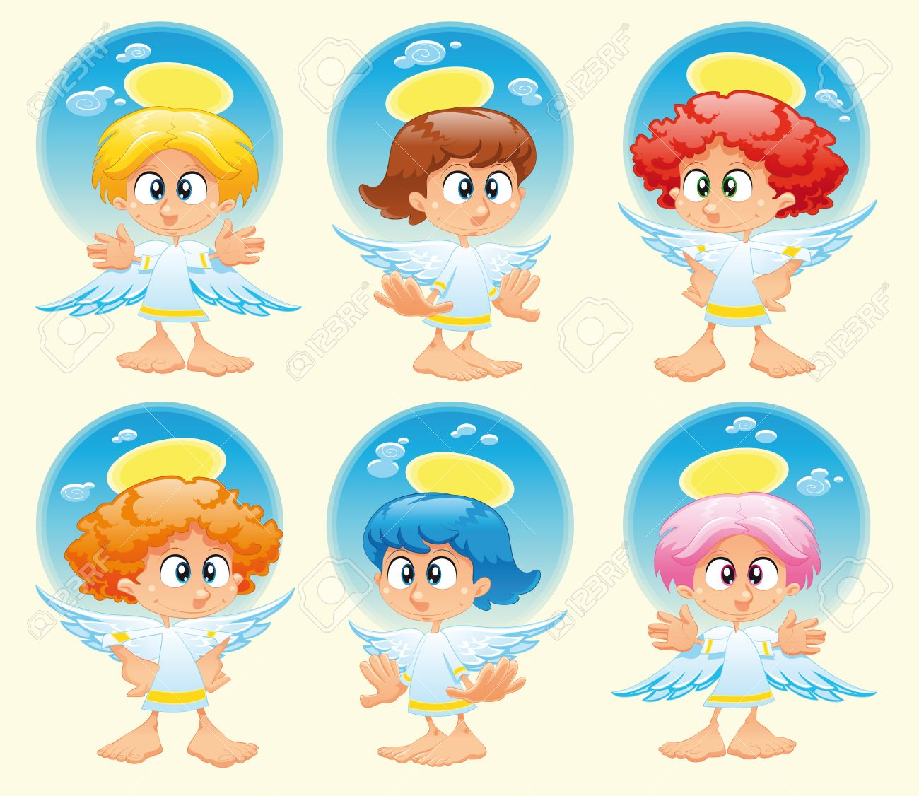 Family of angels with background, cartoon and vector illustration Stock Vector - 5516479