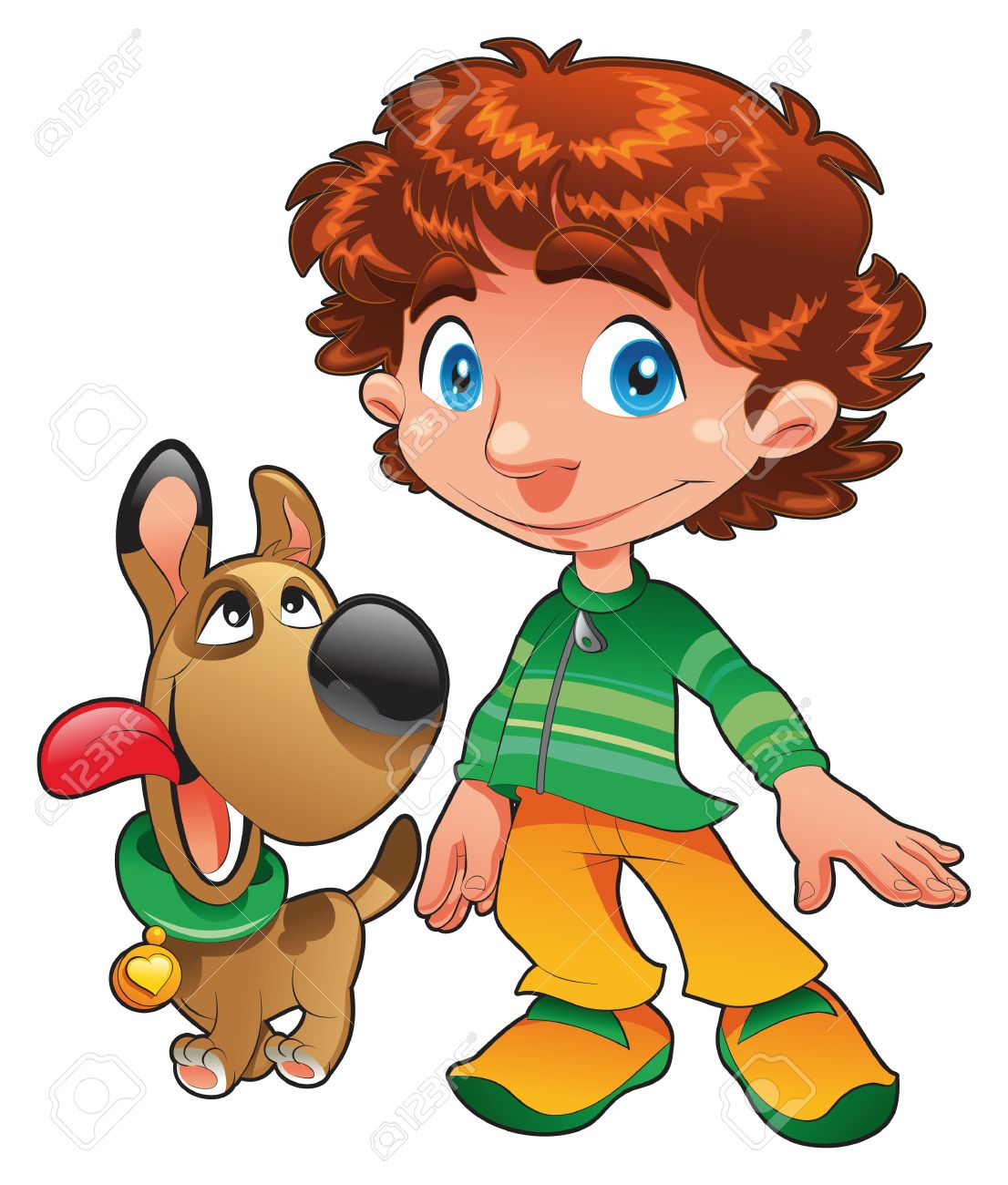 Boy with Dog friend, cartoon and vecto character Stock Vector - 5538983