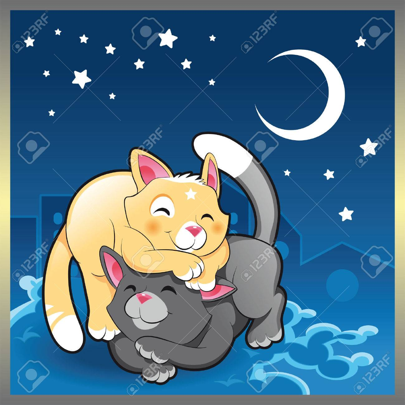 Baby cats in the night, cartoon and vector illustration Stock Vector - 5539023