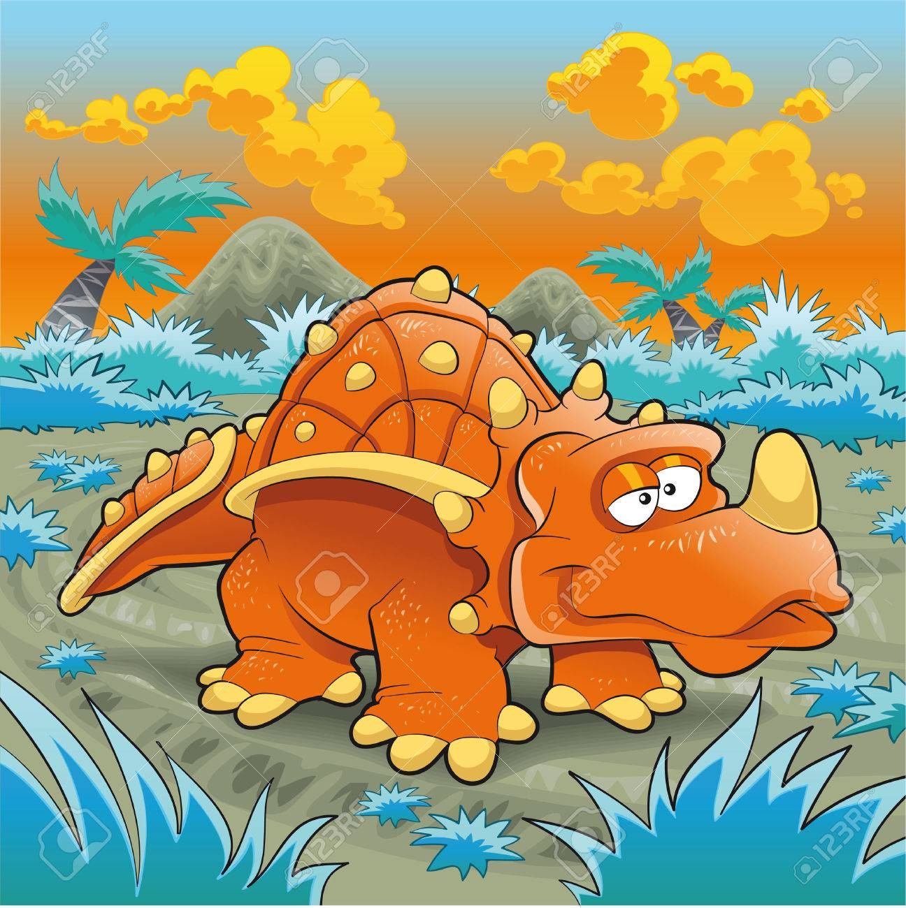Funny triceratops, cartoon and vector illustration Stock Vector - 5539062