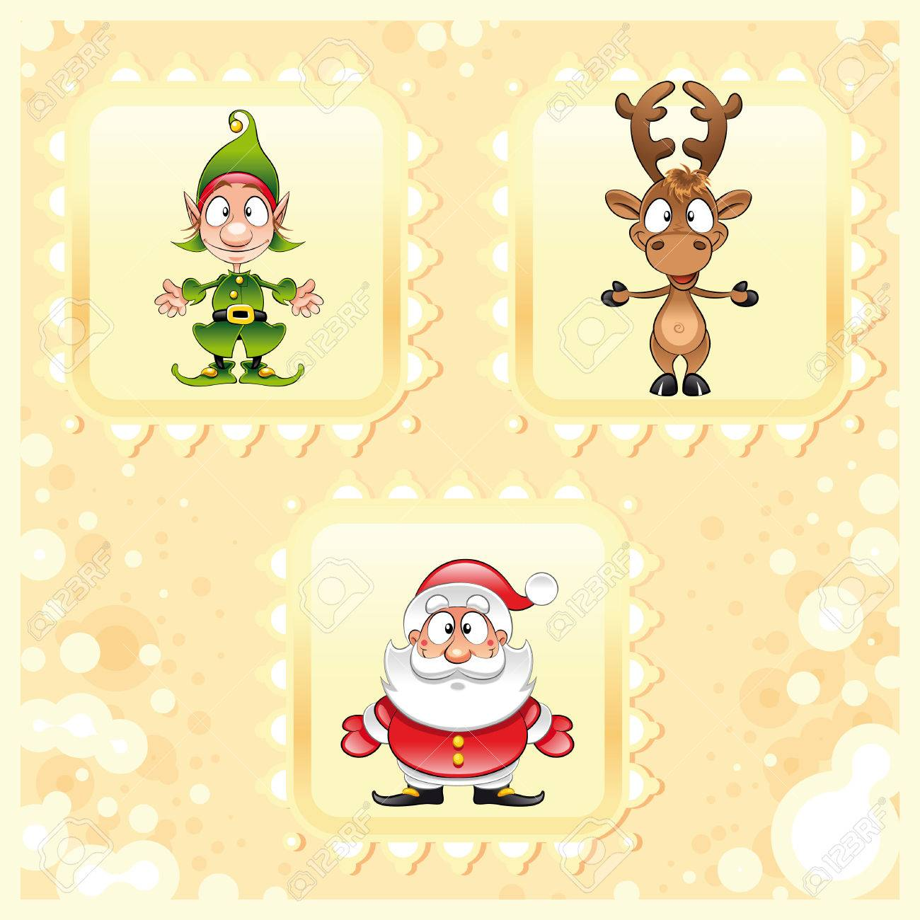 SantaClaus, Rudolph and Elf, cartoon and vector illustration Stock Vector - 5539133