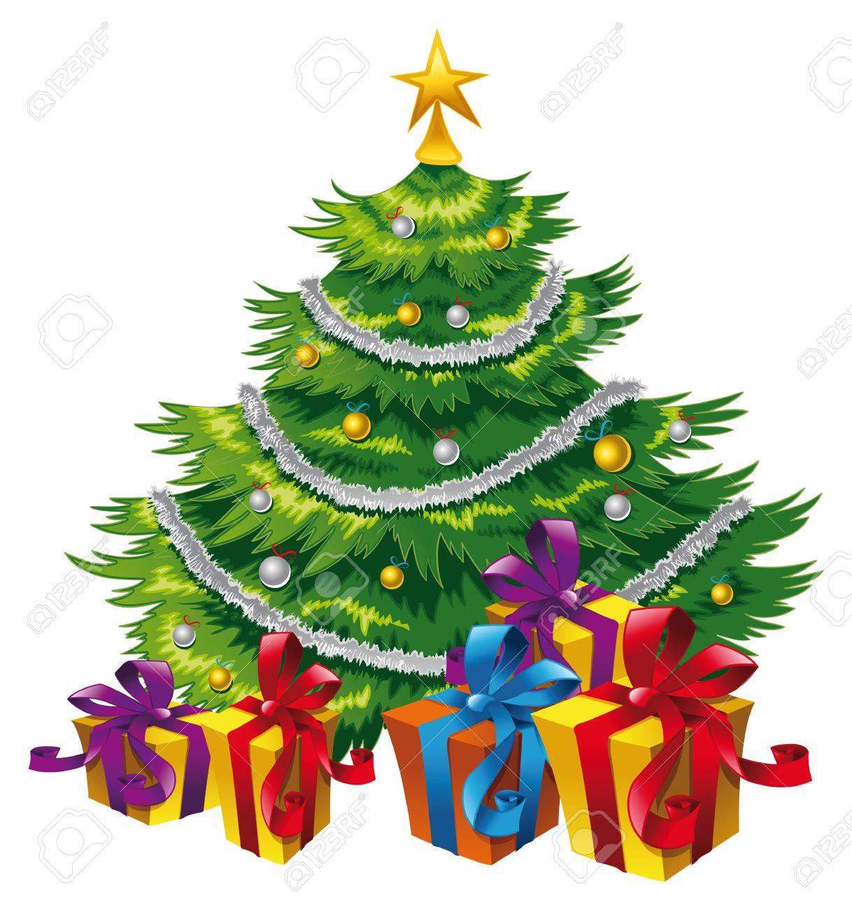 christmas tree, cartoon and vector scene royalty free cliparts
