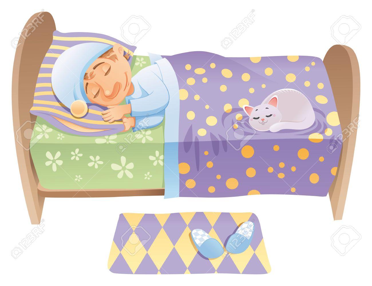 Niño está durmiendo en su cama, dibujos animados y vector de la escena Foto de archivo - 5564220