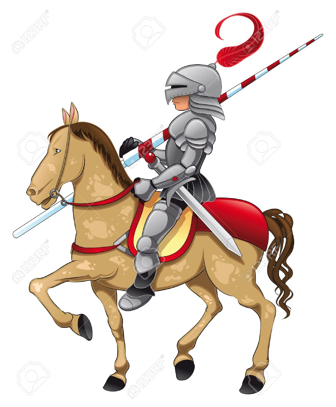 Knight and Horse. Cartoon and vector illustration - 5600071