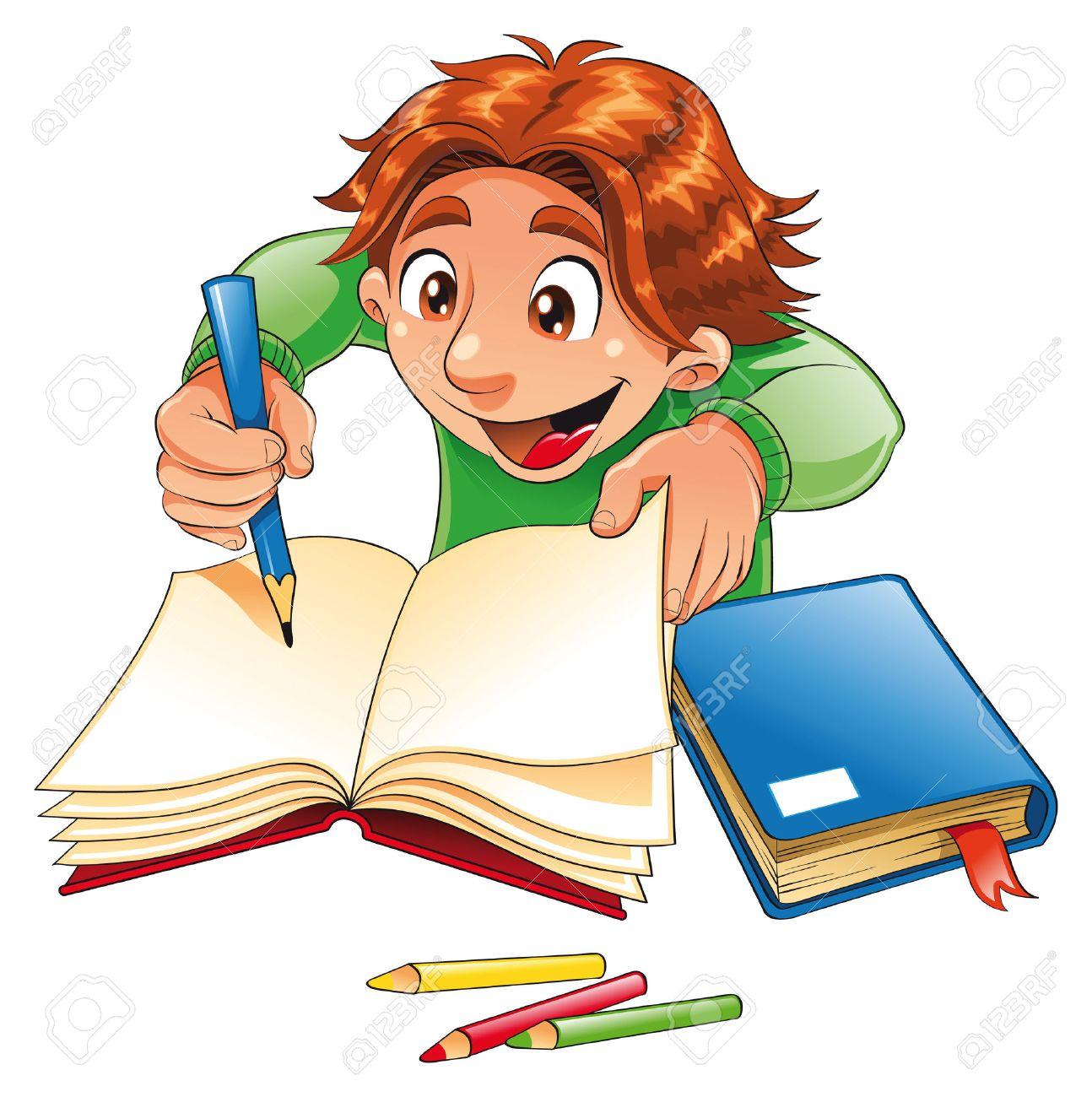 Boy writing and drawing. Cartoon and vector character Stock Vector - 5600081