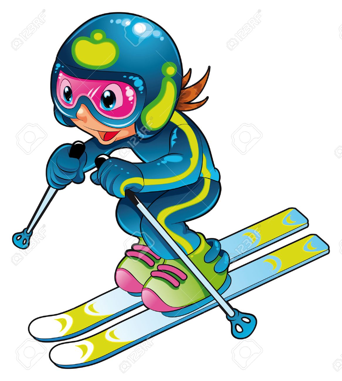 Baby Skier. Cartoon And Vector Character. Royalty Free Cliparts ...