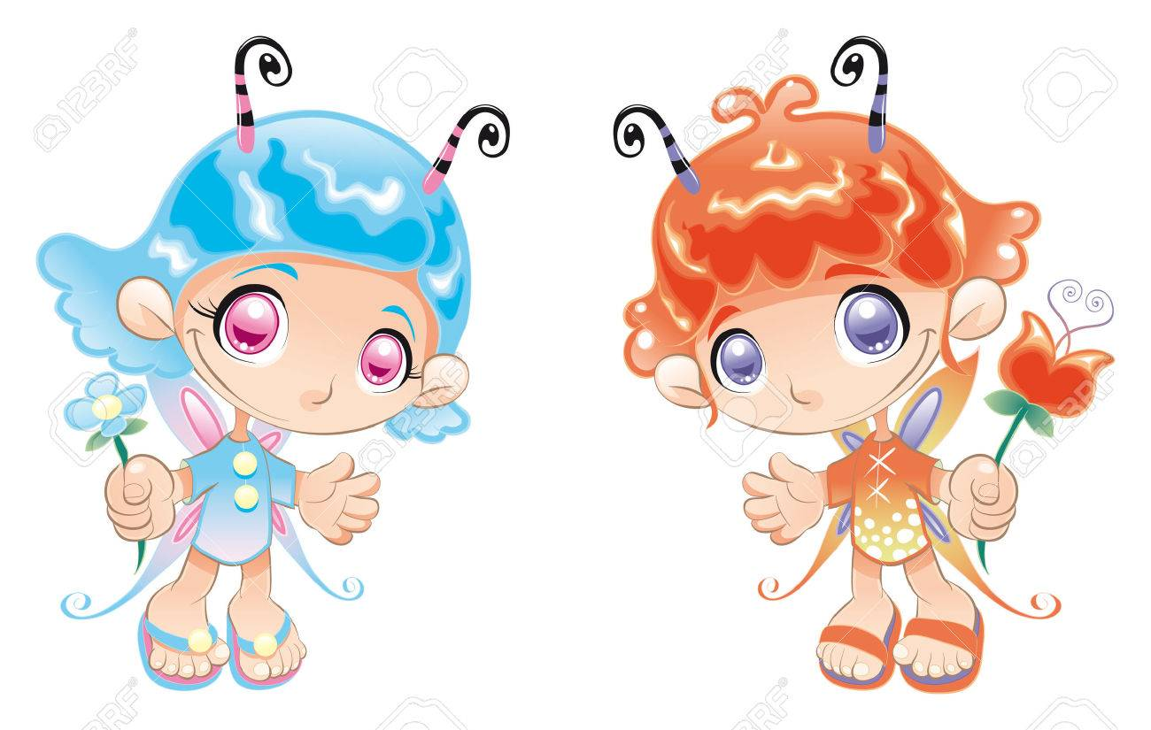 Two Little Fairies. Cartoon and vector characters. Stock Vector - 5609838