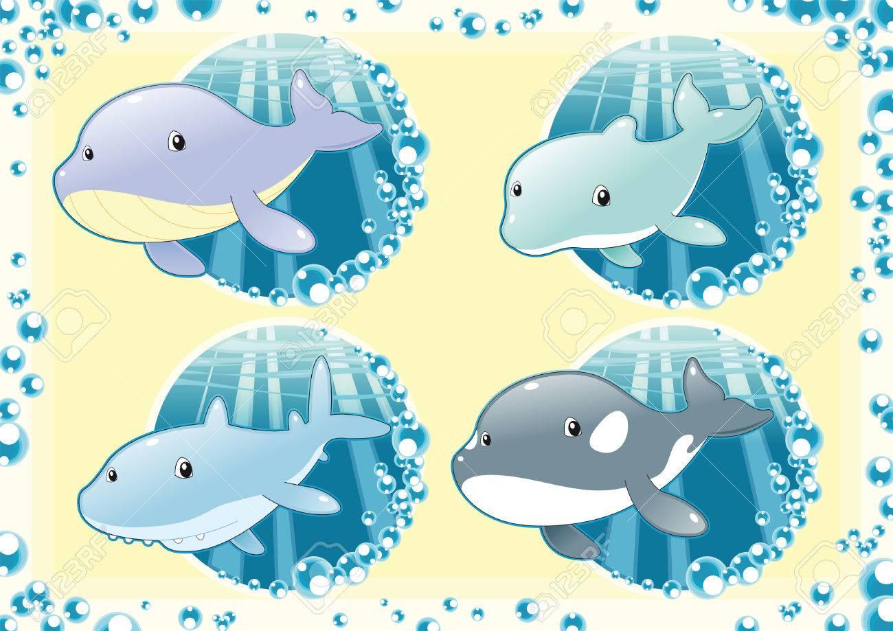 Ocean Family fish. Cartoon and vector illustration. Stock Vector - 5609817