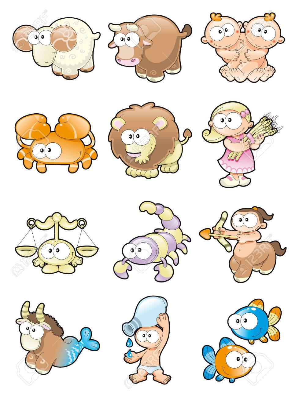 Funny Zodiac. Cartoon and vector illustration. Stock Vector - 5609820