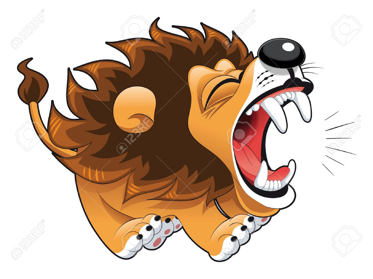 Barking lion. Funny cartoon and vector character Stock Vector - 5673864